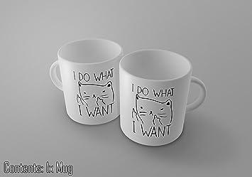 Taza, diseño de gato gracioso con corte de mangas y texto en inglé