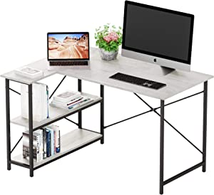 Bestier Small L-Shaped Desk with Storage Shelves 47 Inch Corner Desk with Shelves Writing Desk Table with Storage Tower Shelf Home Office Desk for Small Spaces P2 Wood (Antique White, 47 Inch)