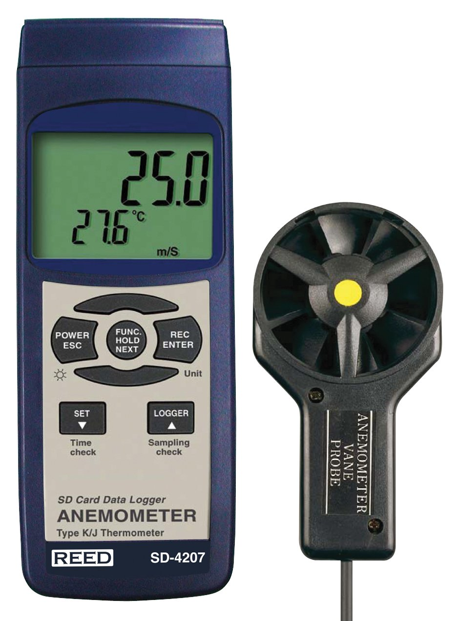REED Instruments SD-4207 SD Series Vane Thermo-Anemometer, Datalogger, w/Temperature
