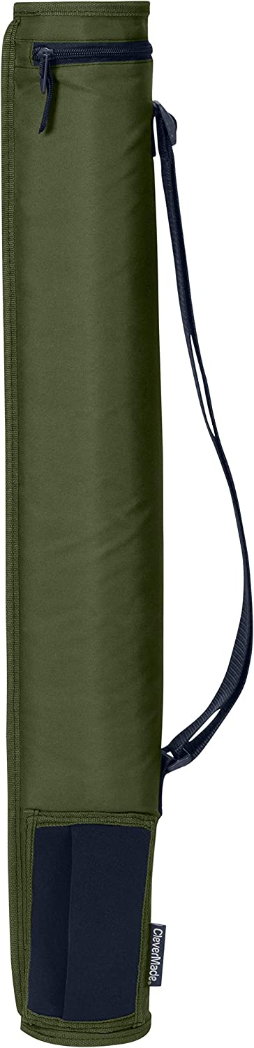 CleverMade 6 Can Cooler Sleeve - Insulated 6-Pack Cooler Tube with Adjustable Shoulder Strap, Easy Access Can Opening, and Neoprene Storage Pocket - Olive/Navy (SXSLNS-0322-4024)