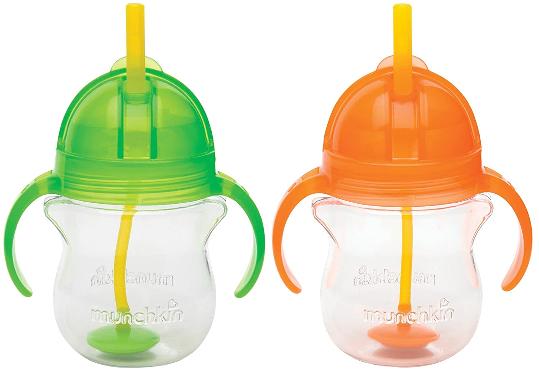 Munchkinクリックロック7オンスWeighted flexi-straw Cup 2パックグリーン/オレンジ   B00PWYRT80