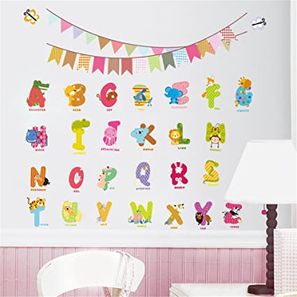 5a5669e0f83 Educational Animal Alphabet Wall Decals A-Z Alphabet Animals Wall Sticker  Removable Kids Alphabet Wall Decal Peel
