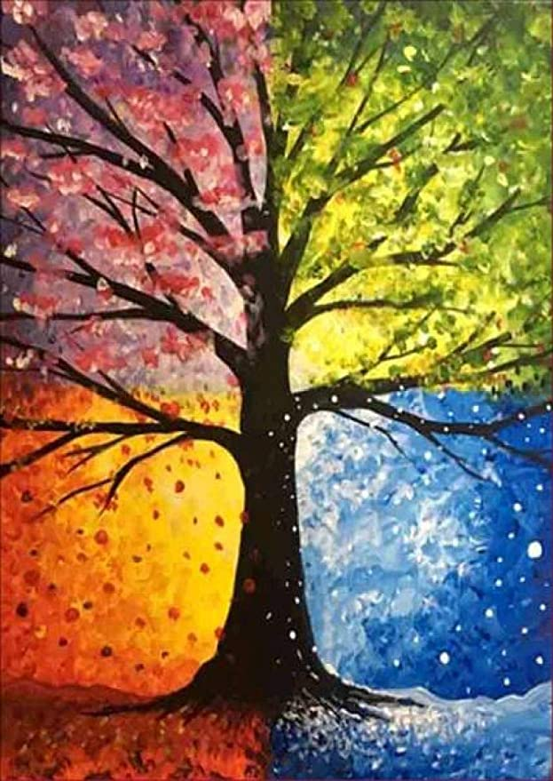 5D Diy Diamond Painting El árbol con Four Seasons