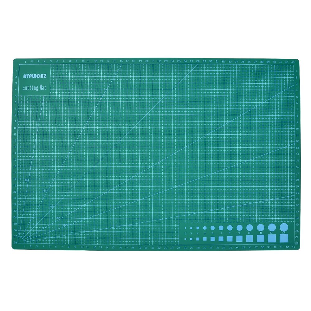 ATPWONZ Taglio Mats A3 Multifuncional - antiscivolo in PVC Autocuración Corte colori Professional stampa Double Sided 5 strati del sandwich con anima bianco (Verde)