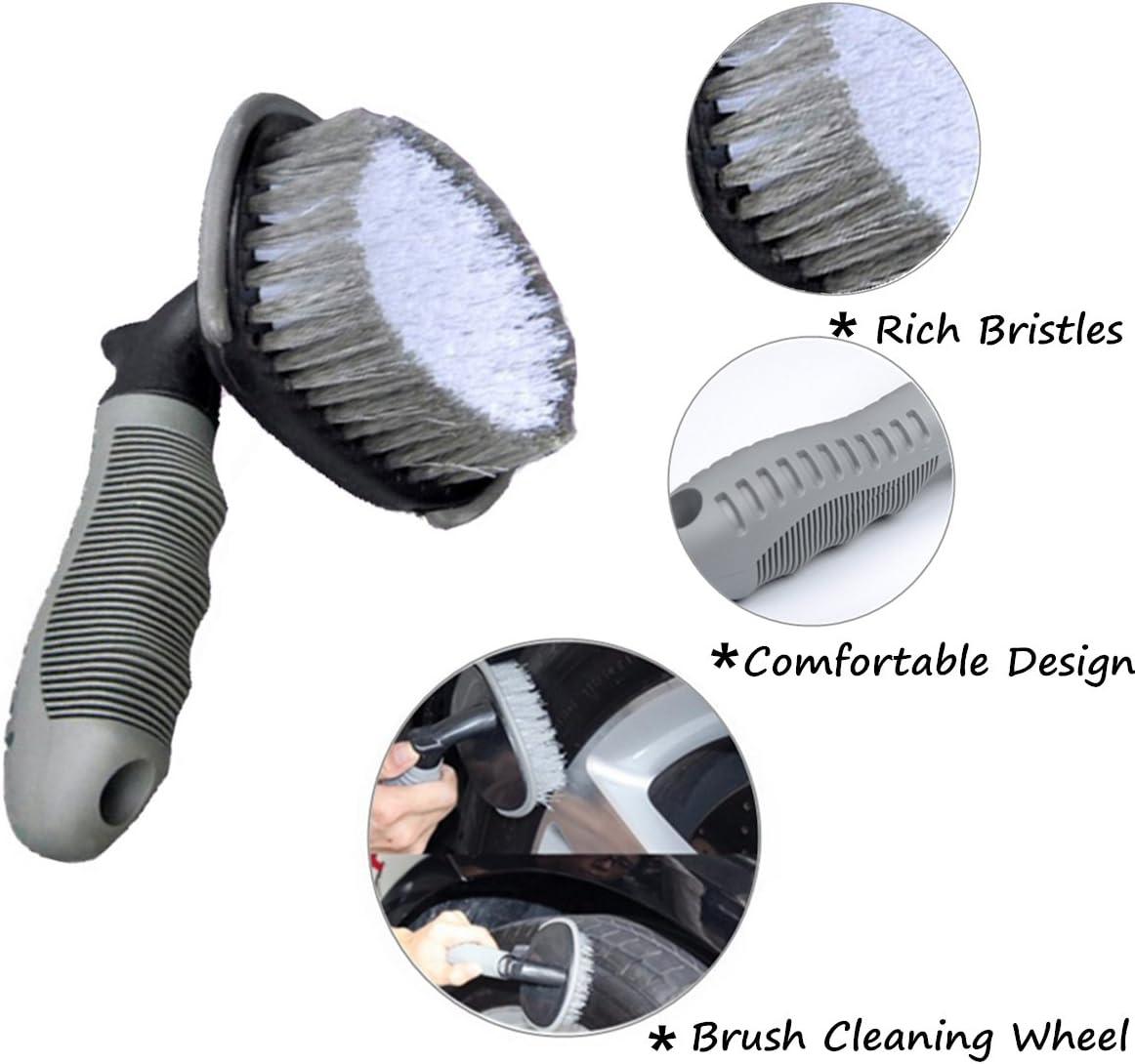 MATTC Car Wheel Cleaning Brush 2Pack Tire Rim Scrub Brush Soft Alloy Brush Cleaner Tie Auto Motorcycle Bike Wheel Cleaning Tool