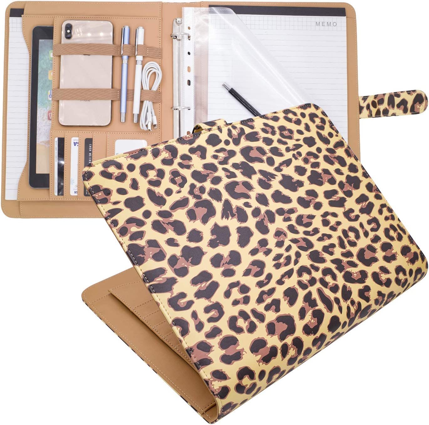 LOSOPHY Padfolio 3 Ring Binder 1 inch,Leather Portfolio Three Ring Binders Business Checks Personal Printed. Office Organizer for Women and Mens. (Leopard 1 Inch Ring)