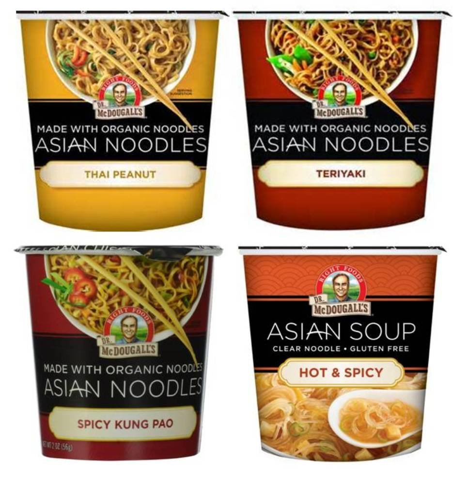 Dr. McDougall's Asian Noodle Cups 4 Flavor Variety Bundle, 1 Ea: Thai Peanut, Hot & Spicy, Spicy Kung Pao, and Teriyaki, 1-2 oz. by Dr. McDougall's