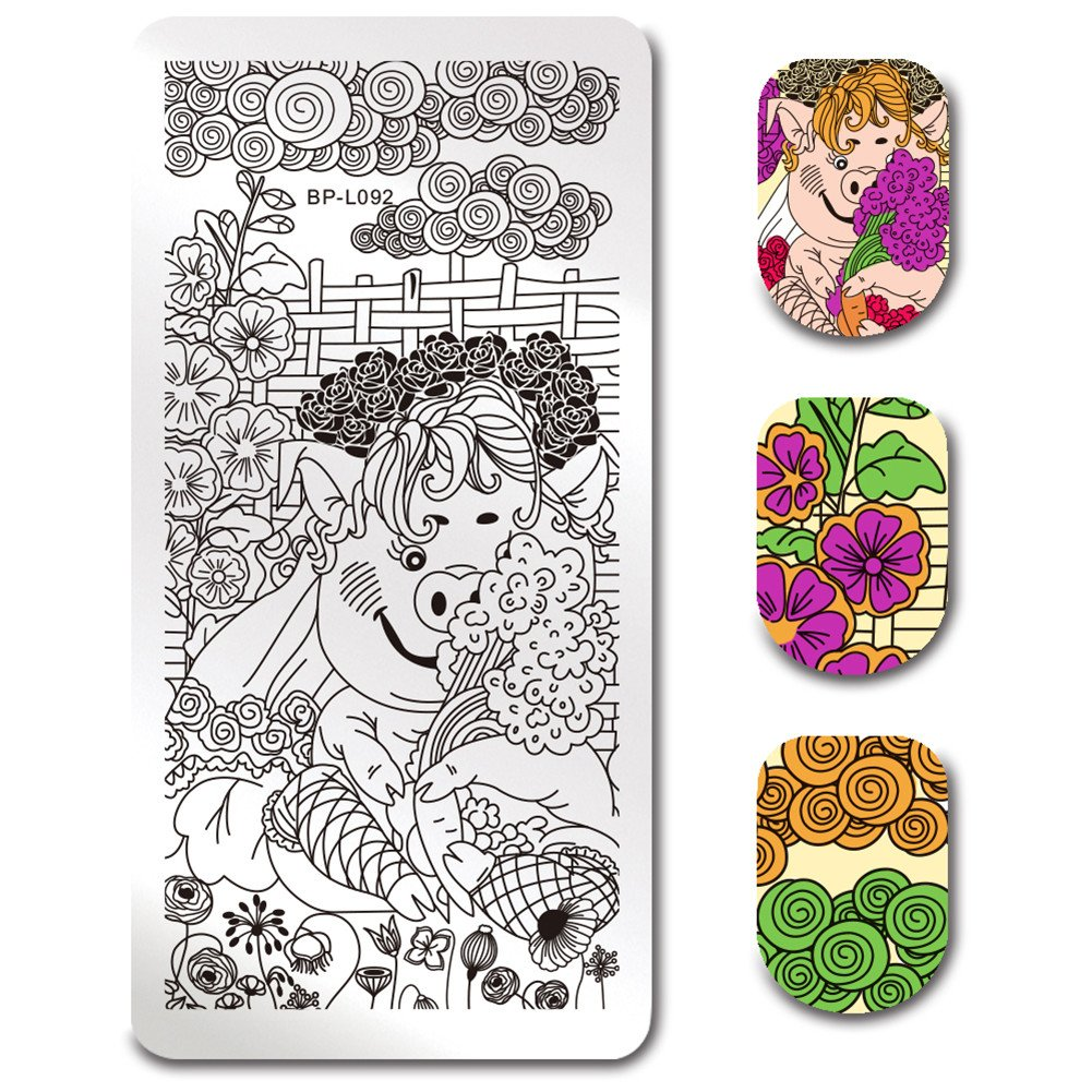 Born Pretty Stamping Template Rectangle Geometric Texture Animals Nail Art Image Plate BP-L093