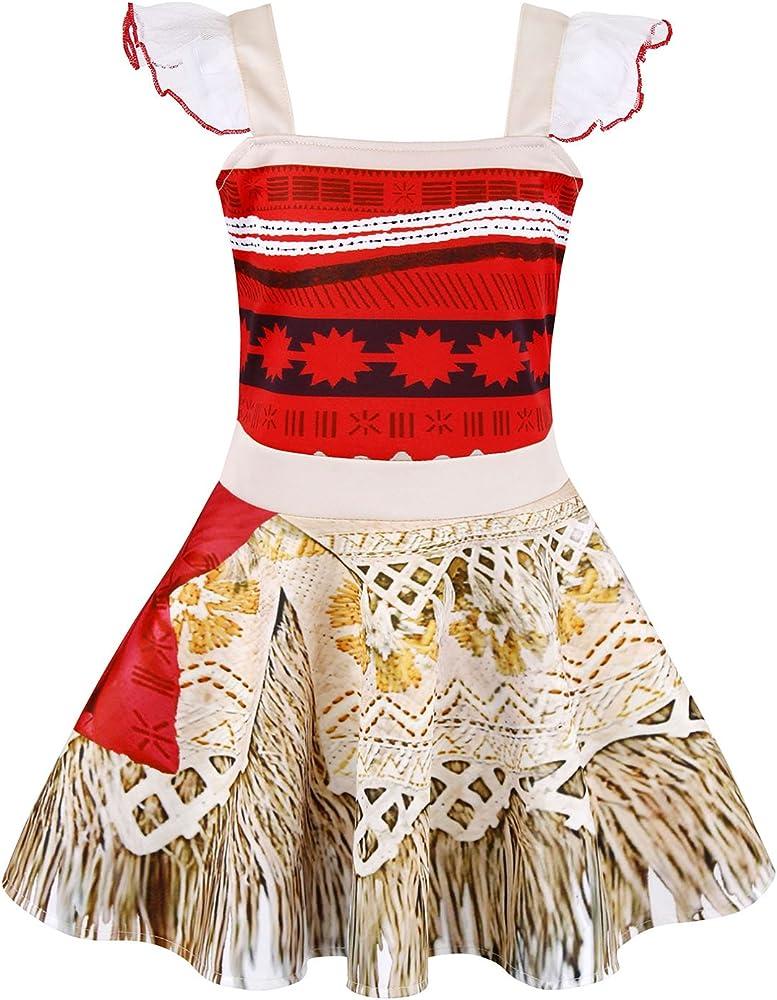 AmzBarley Disfraz de Princesa Moana Vestir Aventuras para Ni?as Ni ...