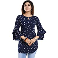 Smart Choice Designer Crepe Printed A-Line Short Kurti/Kurta/Tunic Top with Bell Sleeves for Women & Girls on Jeans Palazzo or Skirt (Plus Size Upto 4XL)