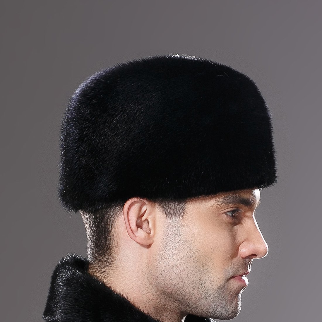 URSFUR Mens Winter Russian Cossack Hat Real Mink Fur Cap Black by URSFUR (Image #5)