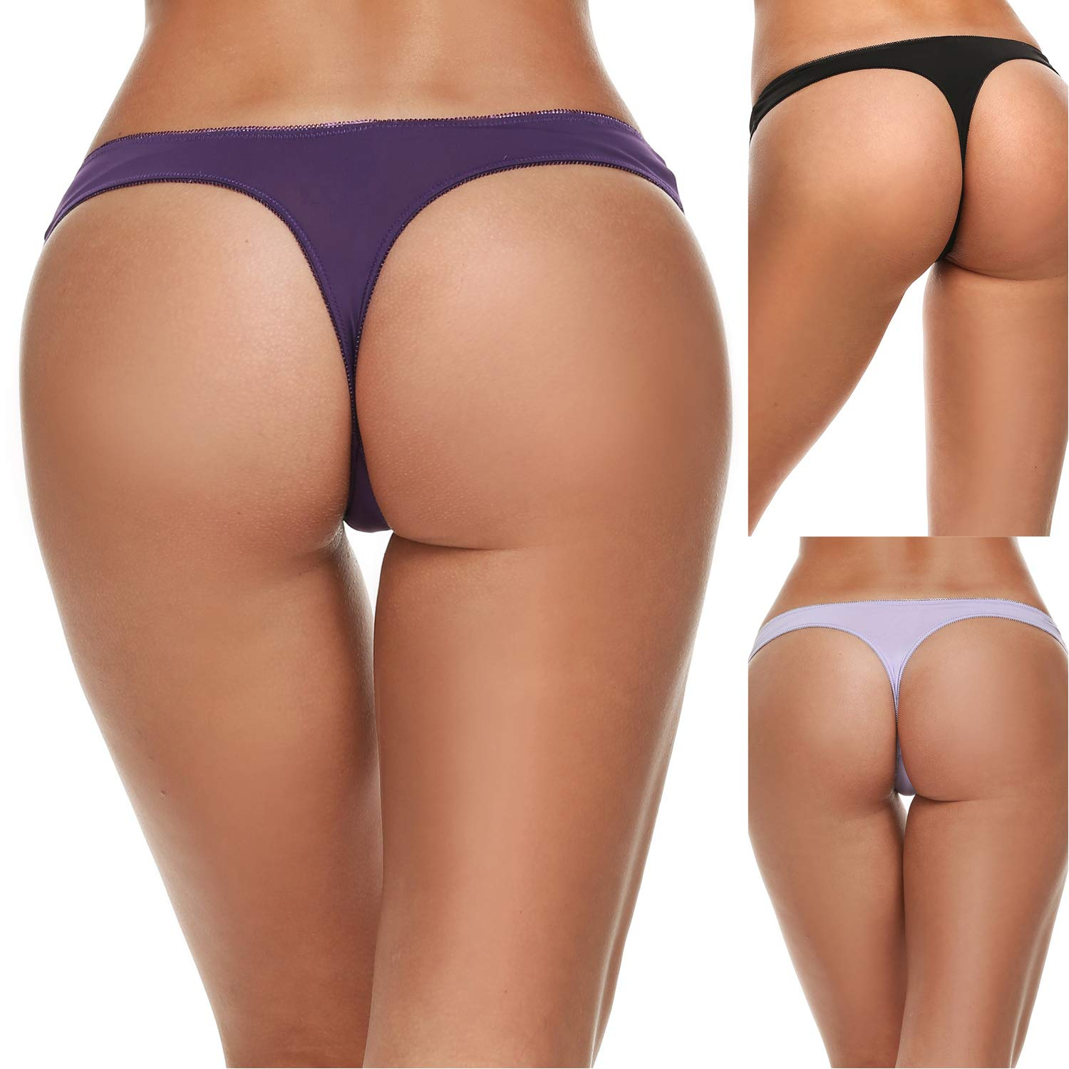 Ekouaer Womens Thong Panties Underwear Assorted 3 Pack