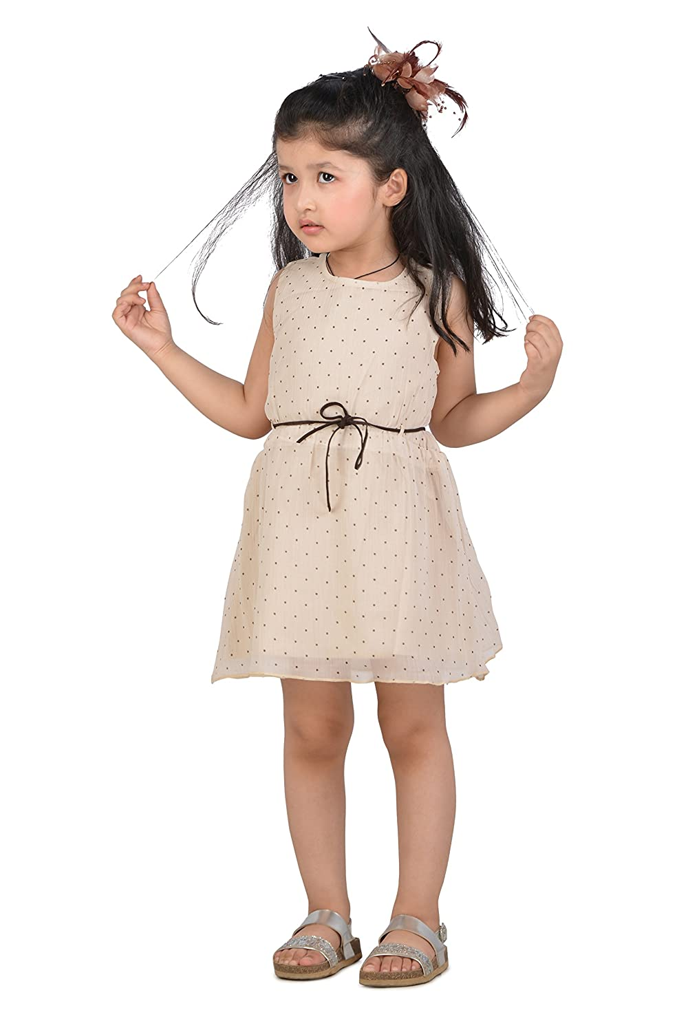 99f6b6f00dc2 KidsDew Party Wear Midi Frock Dress for Baby Girl Age 12-18 Months Beige   Amazon.in  Clothing   Accessories