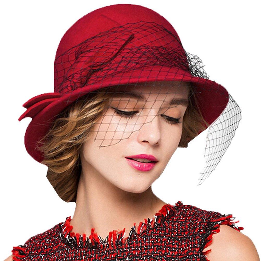 Maitose&Trade; Women's Vintage Fedoras Wool Felt Veil Hat Wine Red