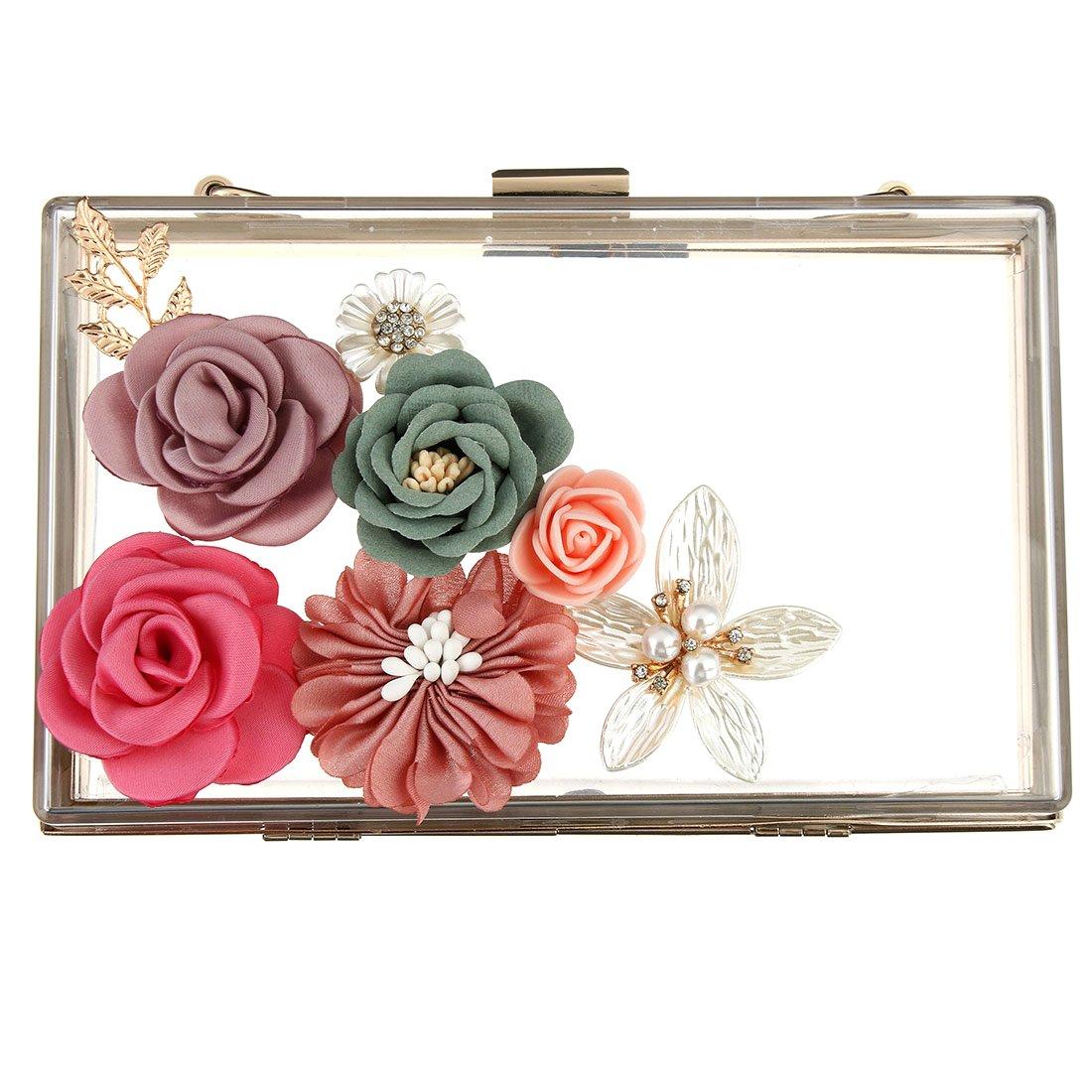 96b68c076aba Acrylic Clutch Bag Womens Flower Transparent Evening Clutches Clear Wedding  Handbag  Amazon.co.uk  Clothing