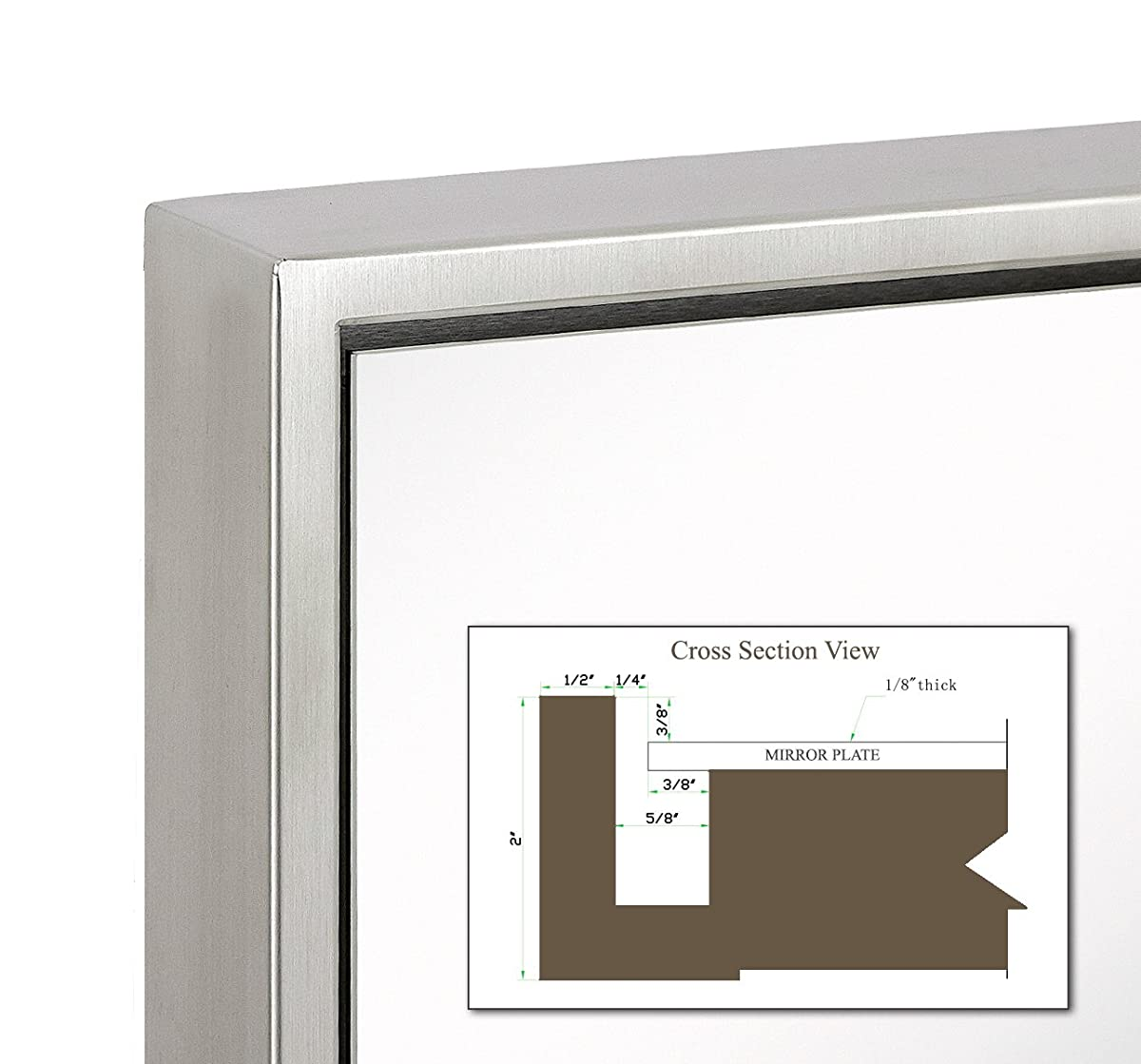 "Clean Large Modern Brushed Nickel Frame Wall Mirror | Contemporary Premium Silver Backed Floating Glass | Vanity, Bedroom, or Bathroom | Mirrored Rectangle Hangs Horizontal or Vertical  (24"" x 36"")"