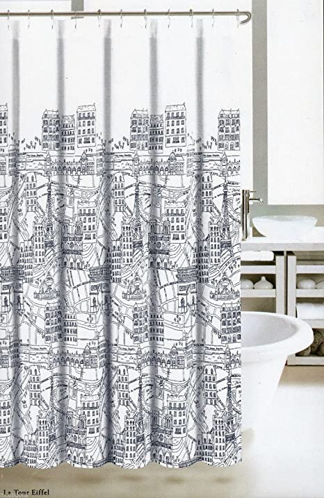 Nicole Miller Fabric Shower Curtain Black White France Paris Map Print  Eiffel Tower