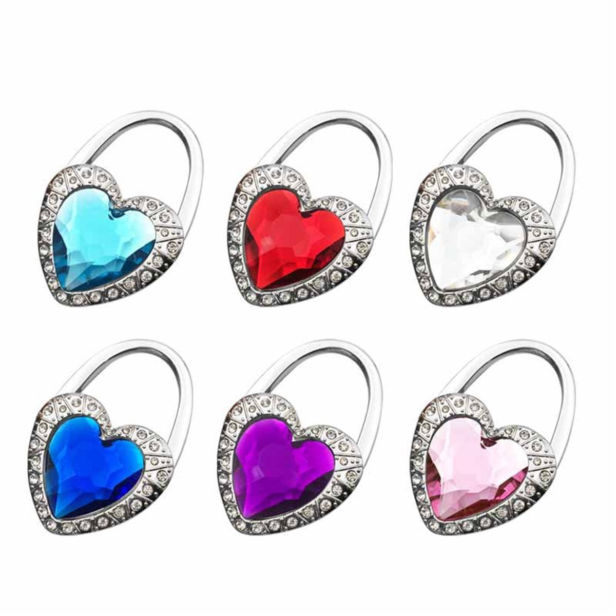 Reizteko Purse Hook, Love Heart Crystal Gem Foldable Handbag Purse Hanger Hook Holder for Tables (Pack of 6)