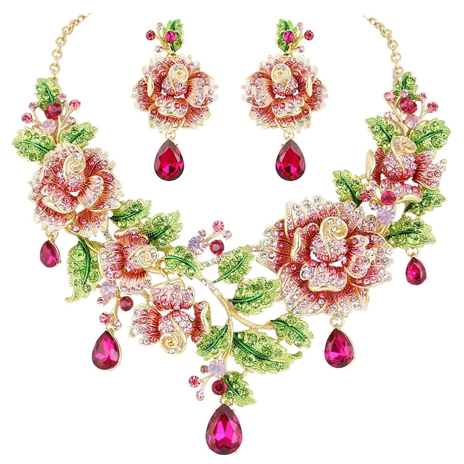 EVER FAITH® Gold-Tone Austrian Crystal Rose Flower Leaf Teardrop Jewelry Set Pink