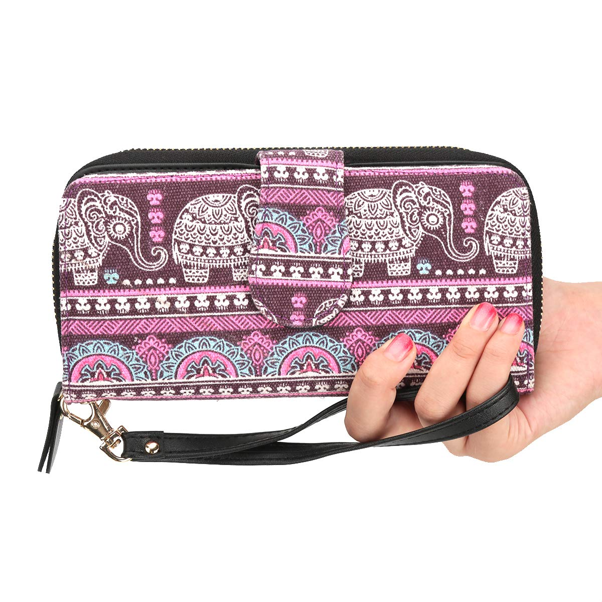 Women Snap Wallet Bohemian Elephant Wallet Zipper Clutch Purse Long Card Wallet with Strap