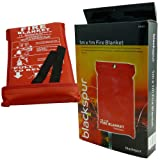 1m x 1m Fire Blanket - Made From 100% Glass Fabric - Wall Mountable Case - Quick Release Tabs - Standard Fire Safety Red Cover