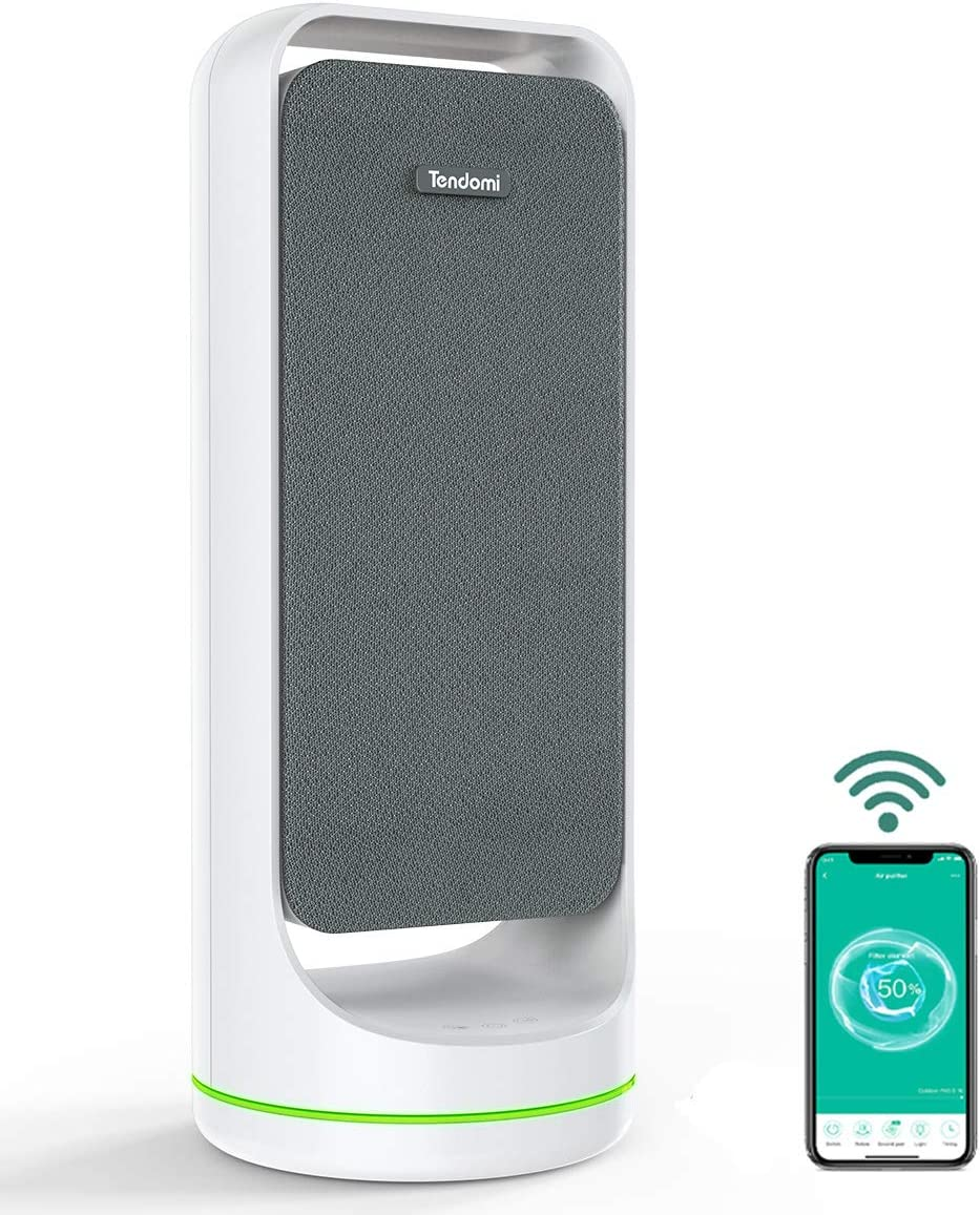 TENDOMI WiFi Smart Air Purifier with True HEPA, Fan Air Purifiers for Home, Bedroom, Office, Dual-Fan Quiet Air Cleaner for Pet, Dust, Allergies, Timer Schedule, 6-Color Night Light, 12 Timer