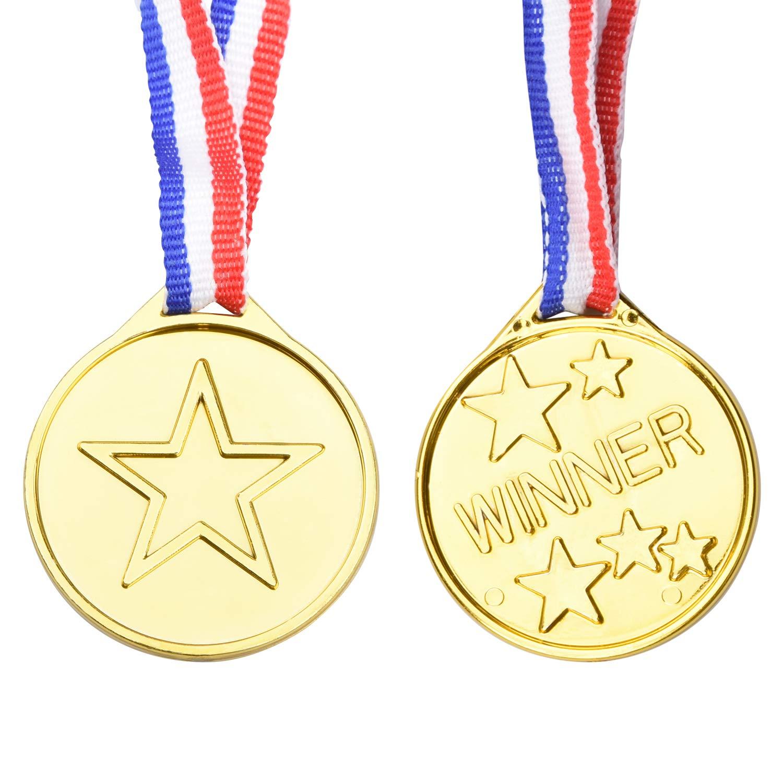 100 Pi/èces M/édailles du Parti Onepine 100 Pi/èces M/édailles Or en Plastique Medaille pour Enfants M/édailles Olympique