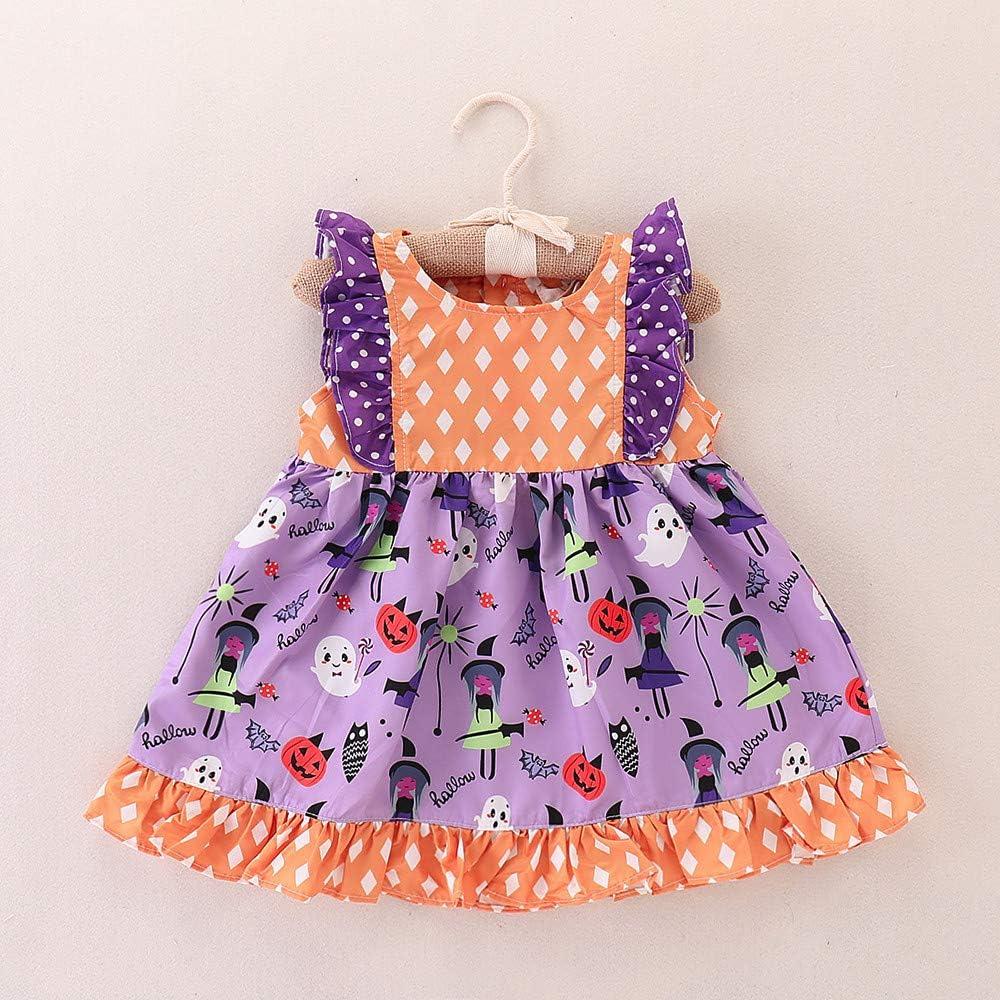 Toddler Infant Kids Baby Girls Sleeveless Dot Dress Ruffles Patchwork Clothes Dream Room Halloween Dresses