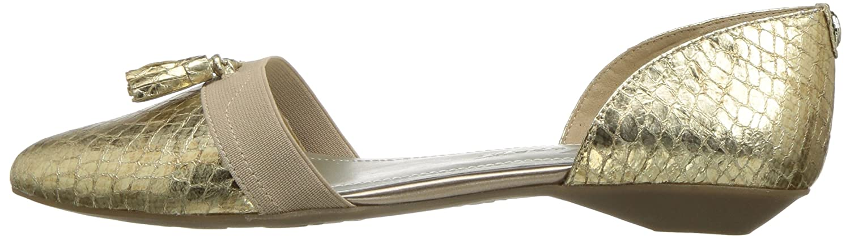 Anne Klein AK Sport Women's Oksie Fabric Ballet Flat B01MSZW37G 5 B(M) US Light Gold/Multi Fabric