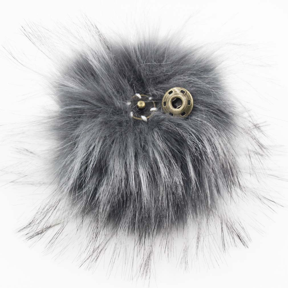 Pack of 12 Faux Raccoon Fur 5INCH Pompom Balls with Press Button for Beanie Hat (Lilac) furling