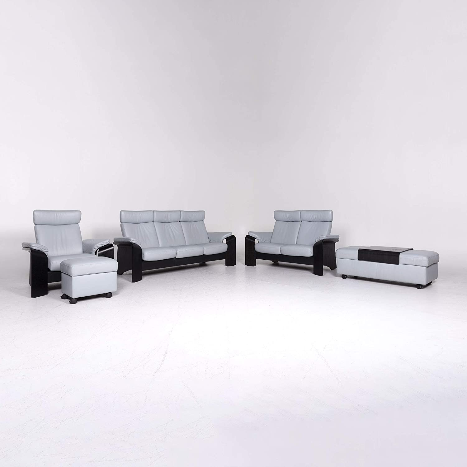 Stressless Pegasus Leather Sofa Set Blue Corner Sofa Three ...