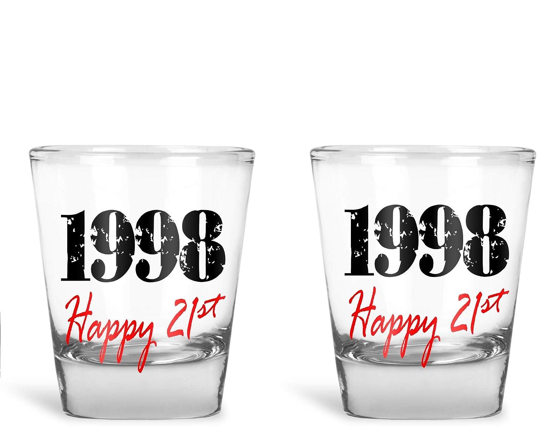 by Funnwear Funny 21st Birthday Gag Novelty Gift- 1.75oz Shot Glass 1998 Happy 21st Set of 2