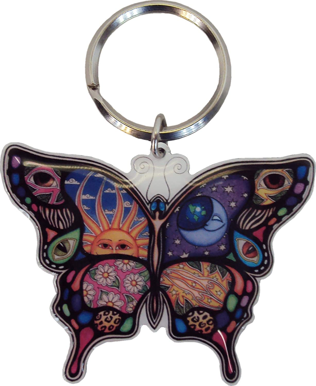 Dan Morris Celestial Day and Night Butterfly Metal Keychain