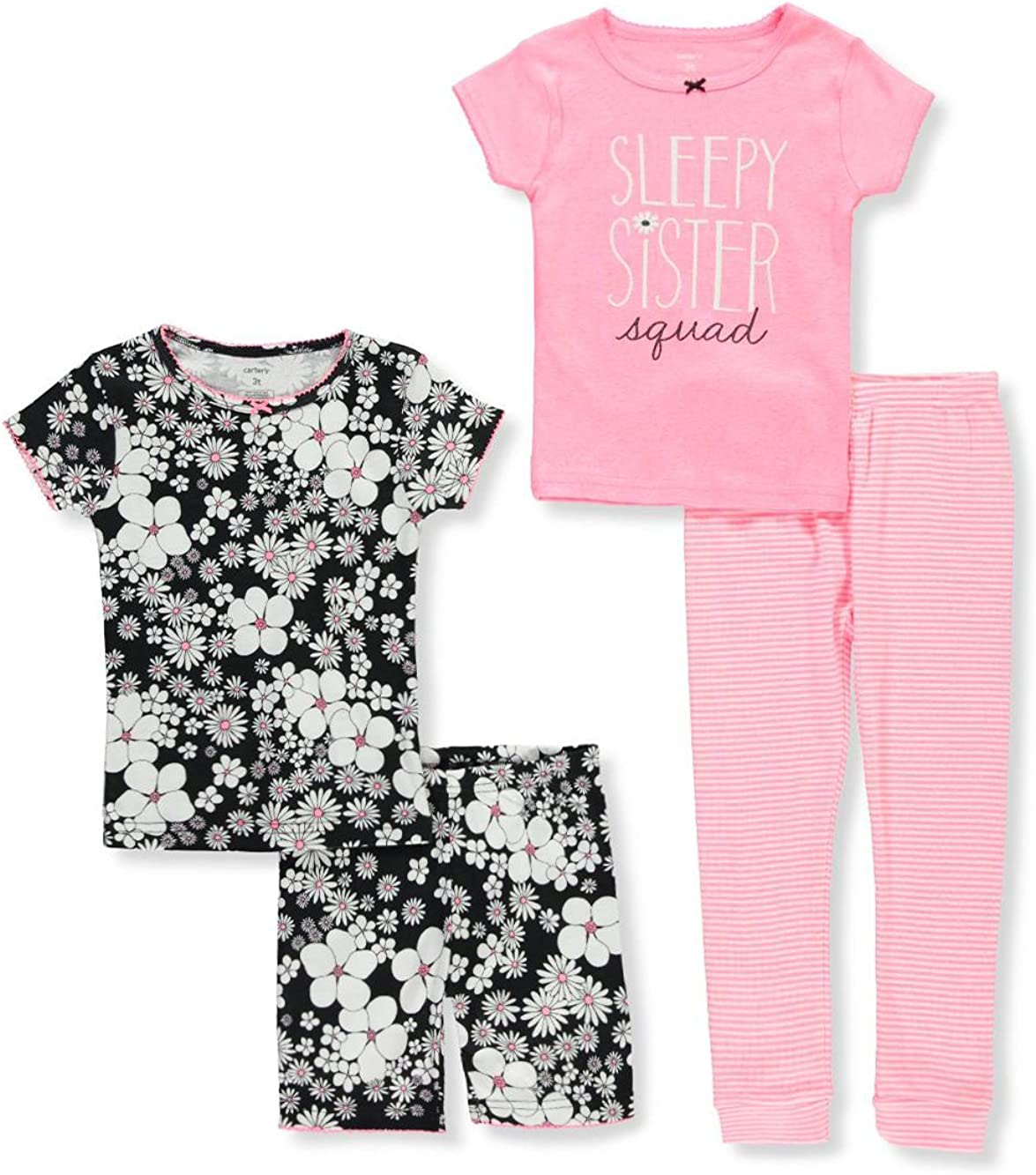 Carters Girls 6M-12 4 Piece Sleepy Sister Squad Floral Pajama Set 2T