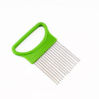 Onion Holder Kitchen Gadgets Handy Stainless Steel Onion Holder Tomato Slicer Vegetable Cutter Safety Cooking Tools Slice Aid Cutting (Green))