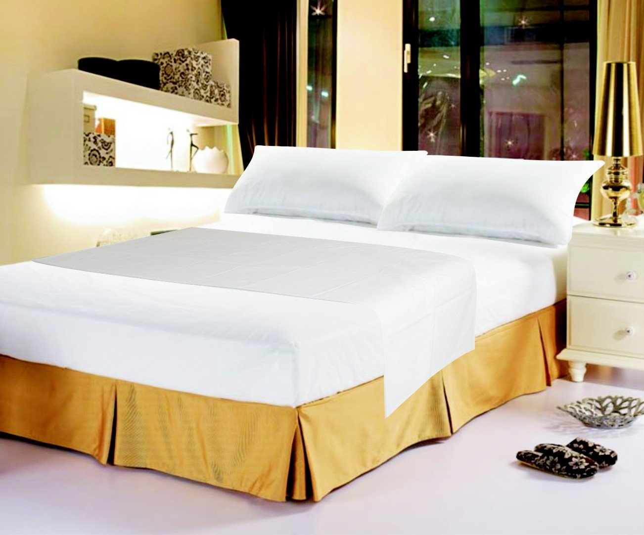 DaDa Bedding FS-098765 3-Piece Cotton Fitted Sheet Set, King, White
