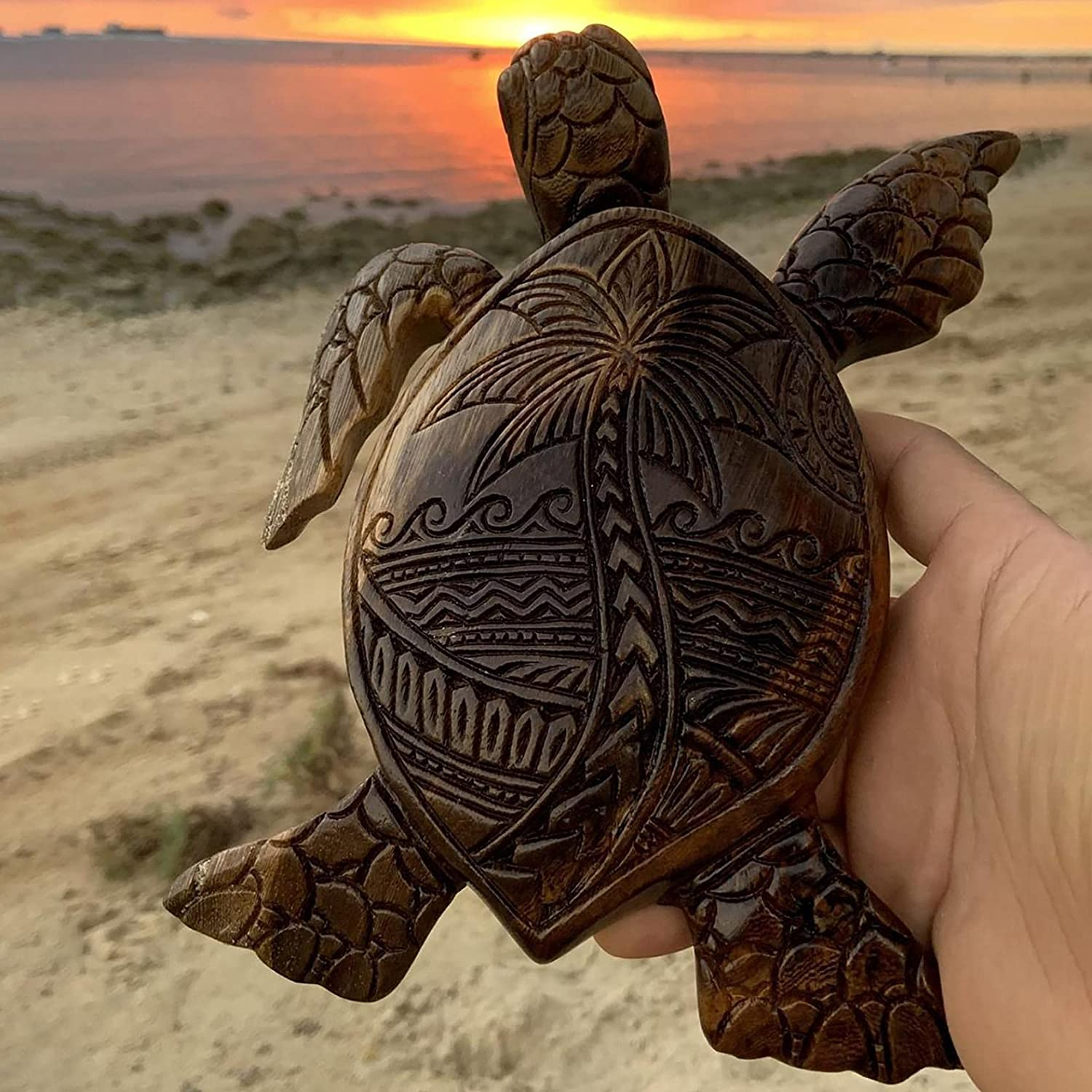 Turtle WoodCarving Hawaiian Turtles Wooden Hand Carved Turtle Tortoise Statue Seaside Tropical Nautical Ocean Coastal Decoration for Home Decor 5.9x4.3inches (A)
