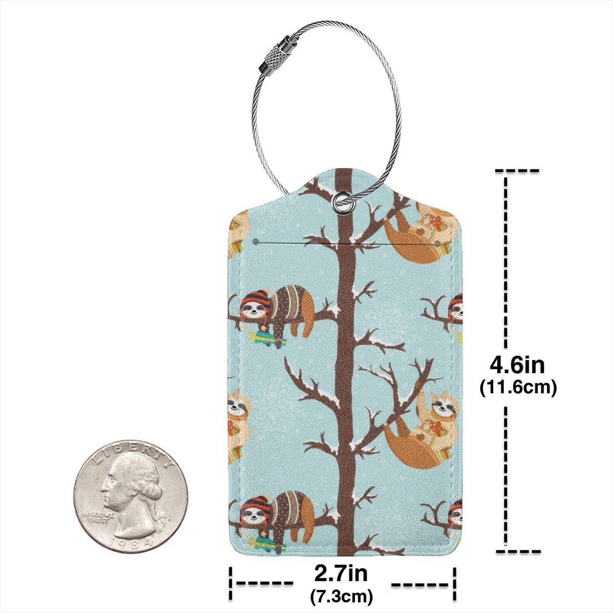 Cute Baby Sloths Luggage Tag Label Travel Bag Label With Privacy Cover Luggage Tag Leather Personalized Suitcase Tag Travel Accessories