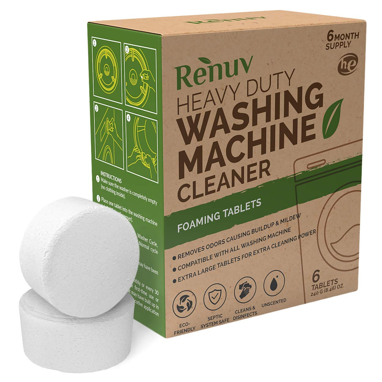 Renuv Washing Machine Cleaner For Front Load, Top Load or HE, Slow Dissolving Huge 40g Eco Friendly Tablets For Maximum Effect Deep Clean Your Washer Where Others Fail