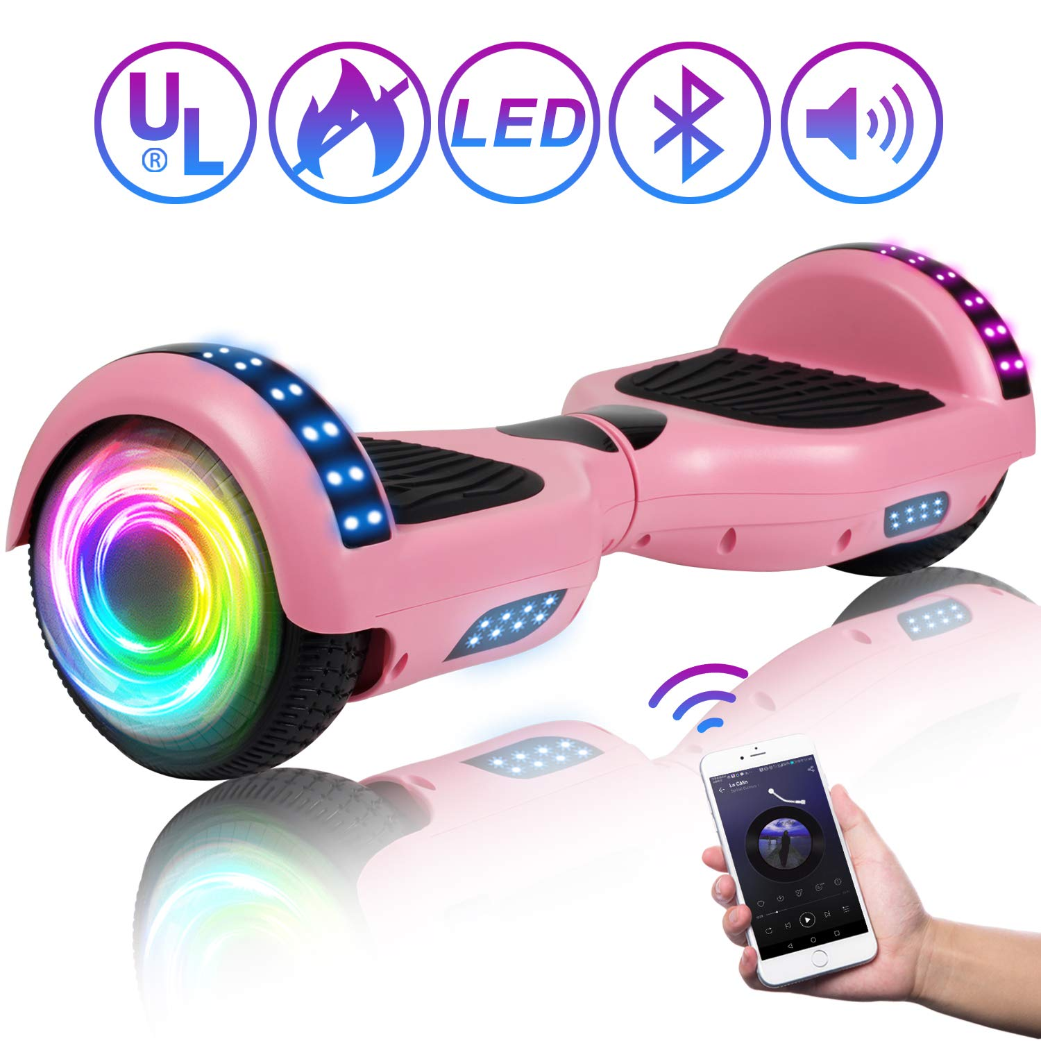 SISIGAD Hoverboard 6.5'' Self Balancing Scooter with Colorful LED Wheels Lights Two-Wheels self Balancing Hoverboard Dual 300W Motors Hover Board UL2272 Certified