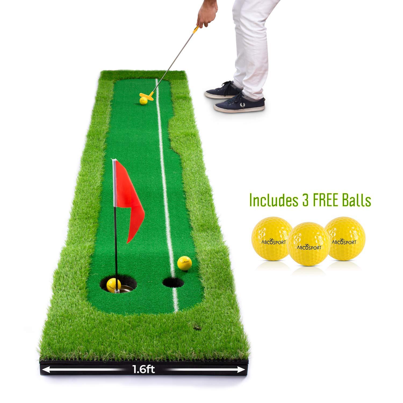 Abco Tech 合成芝パッティング練習屋内ゴルフマット - 生きているような人工グリーン芝 - ボーナスボール3個付き - 長持ちするデザイン   B07MGSFMML