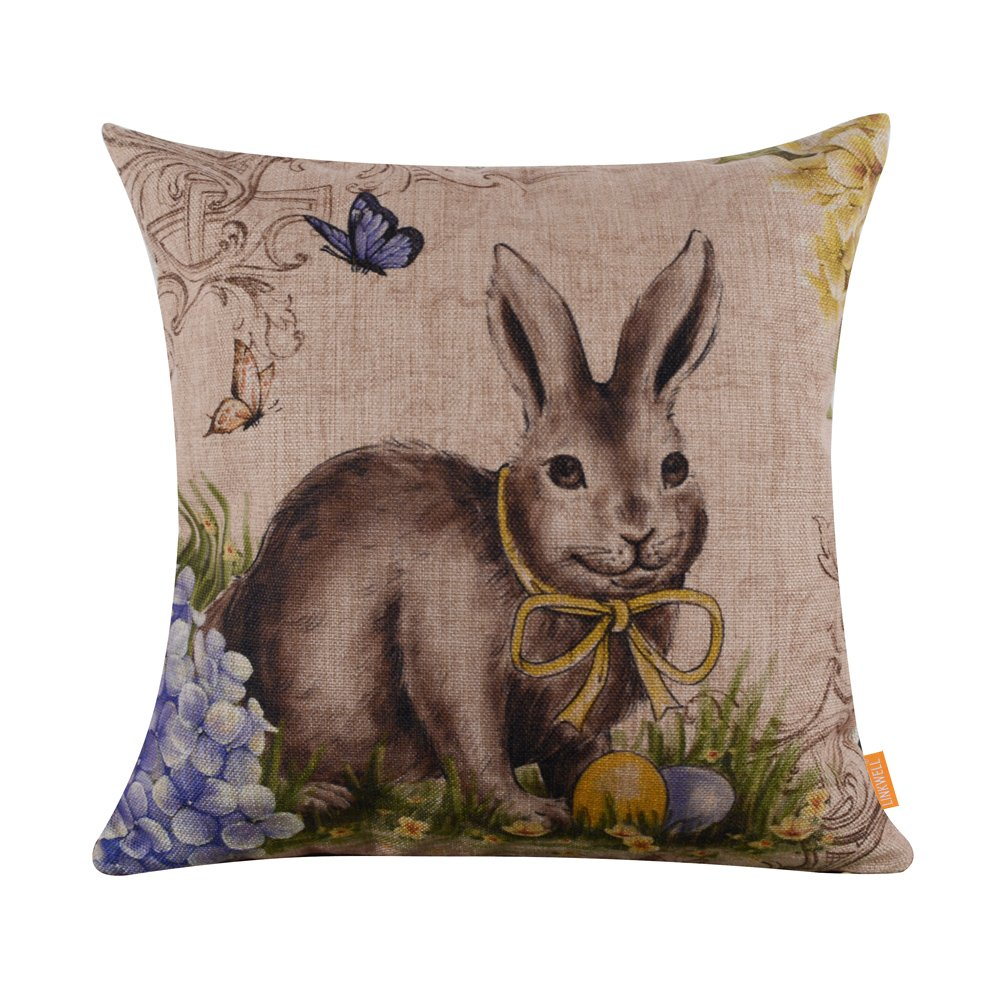Happy Easter Retro Smile Rabbit Color Egg Burlap Cushion Covers