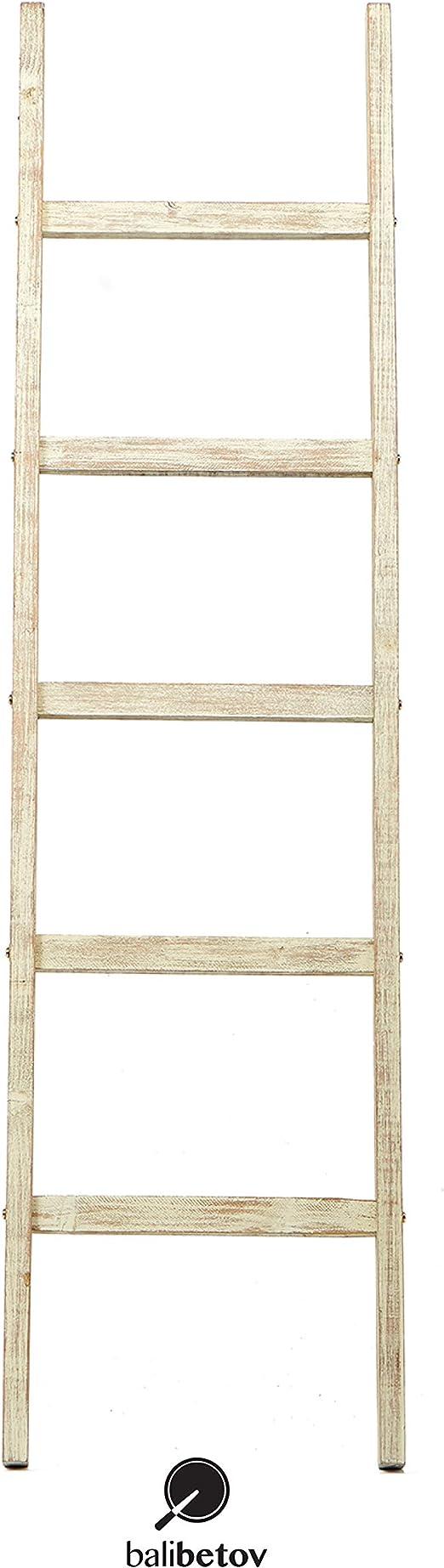 BALIBETOV Escalera Decorativa Rustica-Toallero y Sostenedor de Mantas-Decoración del baño y del Dormitorio-Estante de Secado de Ropa de Madera-Estante Blanco-Escalera Estantería (Beige Rustico, 122): Amazon.es: Hogar