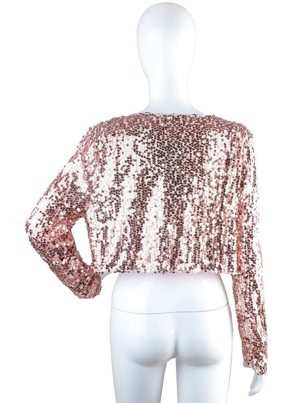 Anna-Kaci Femmes paillettes Sequins manches longues Blazers Bolero  Haussement d épaules recadrée veste 37bd86c57781