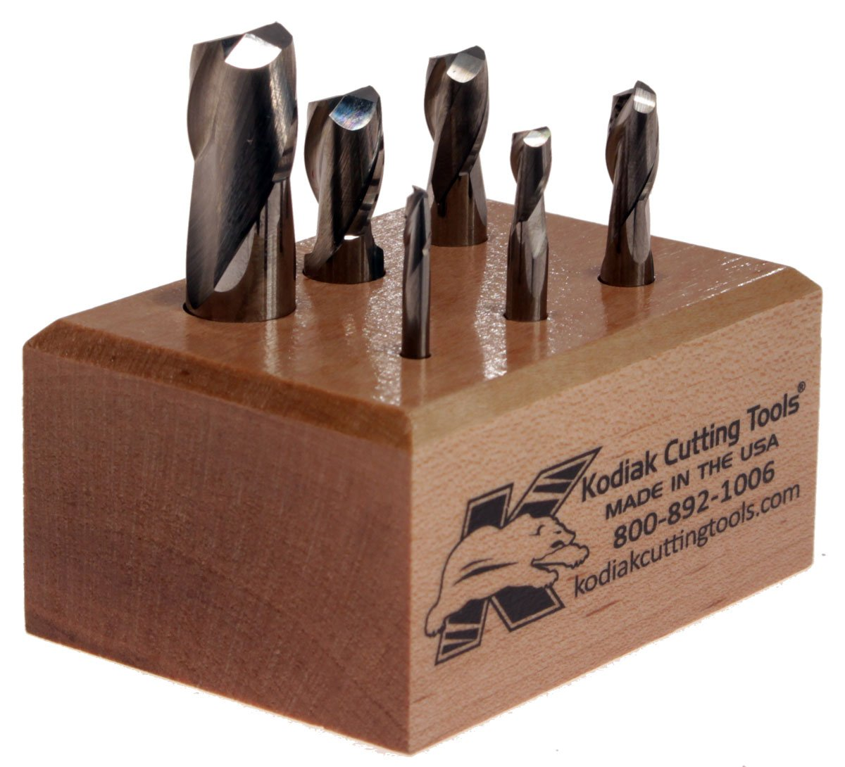 Kodiak Cutting Tools QI-8IZT-0CIW USA Made Premium Micrograin Carbide End Mill Set, 2 Flute, 1/8''-1/2'' (Pack of 6)