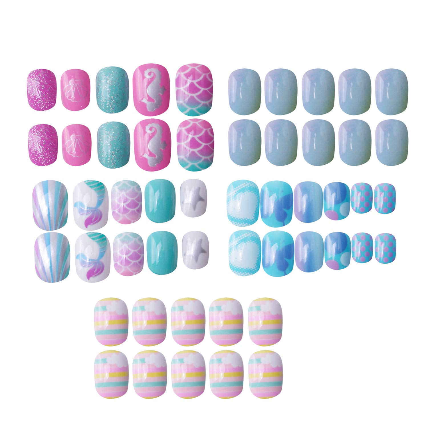 120 pcs 5 pack Children Nails Press on Pre-glue Full Cover Glitter Gradient Color Short False Nail Kits Great Christmas Gift for Kids Little Girls - Mermaid Beach Series by SIUSIO