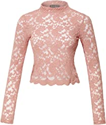 a9154bf242ea LE3NO Womens Stretchy Long Sleeve Floral Lace Mock Neck Crop Top