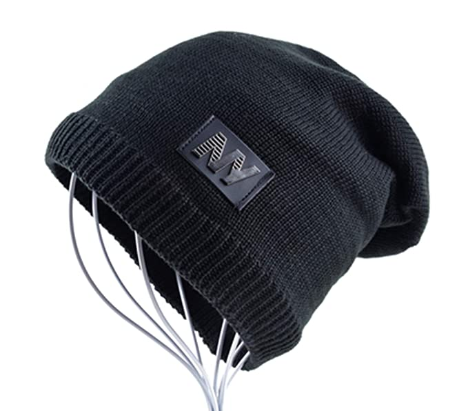 acb70ede40d Image Unavailable. Image not available for. Color  Men Autumn Winter Beanie  Hat Women Unisex Knitted Wool Add Velvet Leather Labeling ...