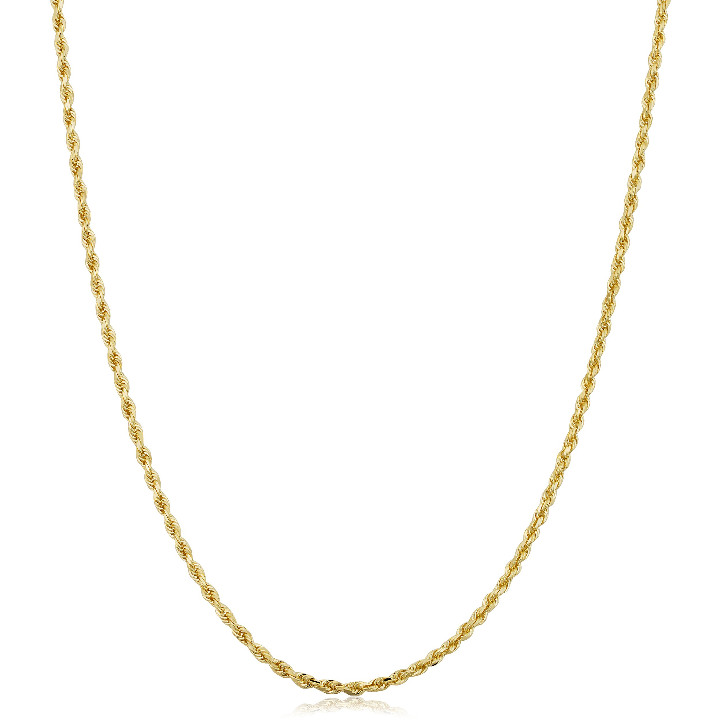 10k Yellow Gold 1.5mm Rope Chain Necklace (20 inch)