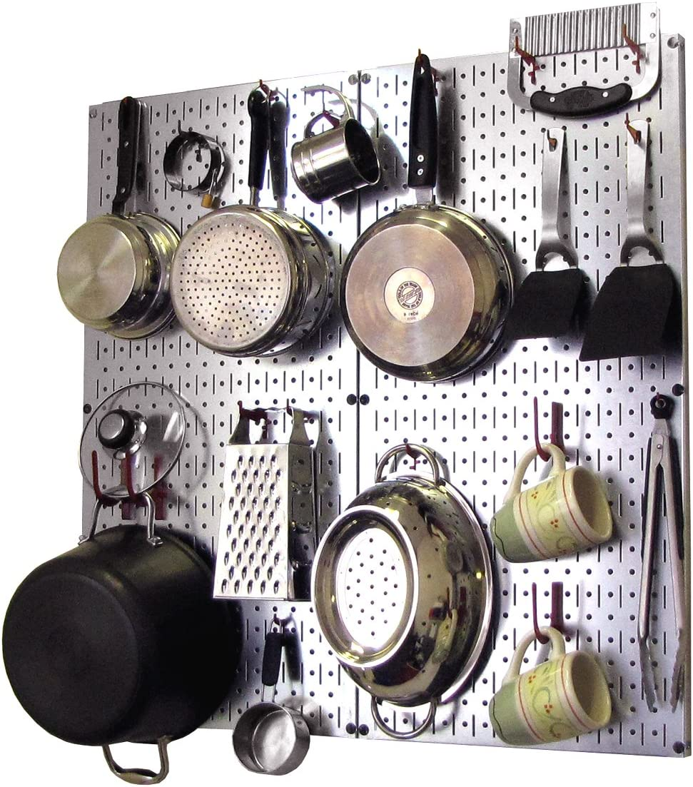 Wall Control Kitchen Pegboard Organizer Pots And Pans Pegboard Pack Storage And Organization Kit With Metallic Silver Pegboard And Red Accessories Kitchen Pot Racks Amazon Com